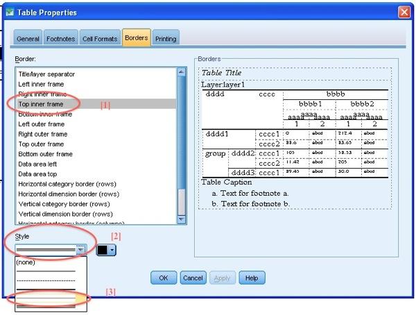 TableLooks Screen: Cell Table Properties: Top Inner Frame